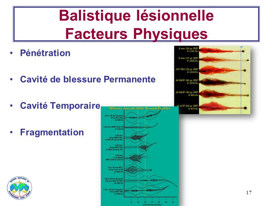 17 Balistique lésionnelle Facteurs Physiques Pénétration Cavité de blessure Permanente Cavité Temporaire Fragmentation