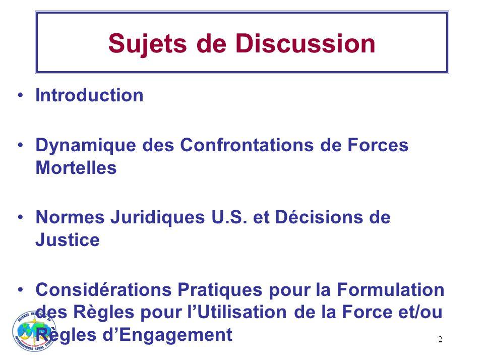 2 Sujets de Discussion Introduction Dynamique des Confrontations de Forces Mortelles Normes Juridiques U.S. et Décisions de Justice Considérations Pra