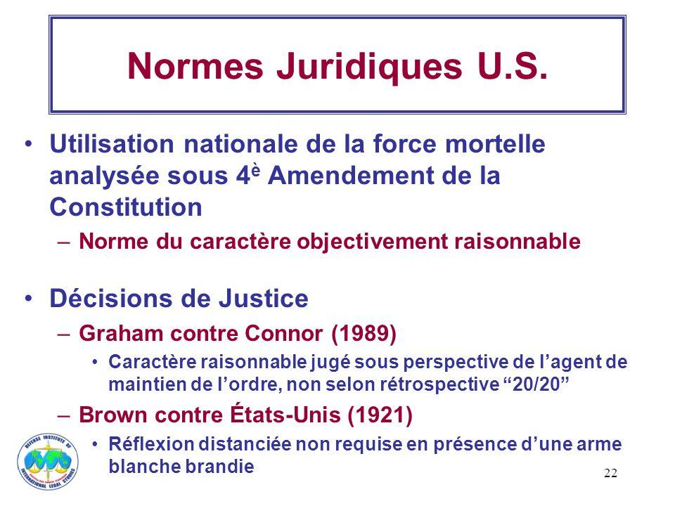 22 Normes Juridiques U.S. Utilisation nationale de la force mortelle analysée sous 4 è Amendement de la Constitution –Norme du caractère objectivement