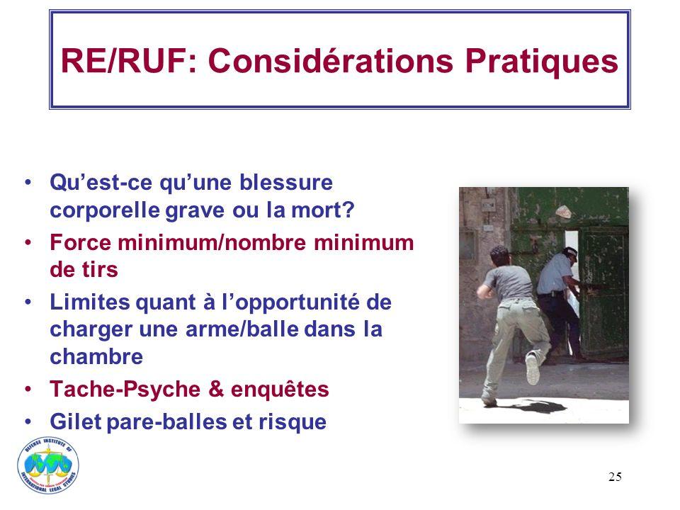 25 RE/RUF: Considérations Pratiques Quest-ce quune blessure corporelle grave ou la mort? Force minimum/nombre minimum de tirs Limites quant à lopportu