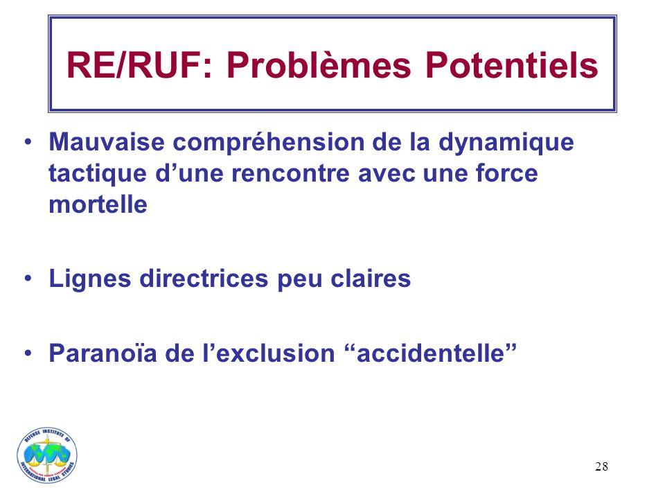 28 RE/RUF: Problèmes Potentiels Mauvaise compréhension de la dynamique tactique dune rencontre avec une force mortelle Lignes directrices peu claires