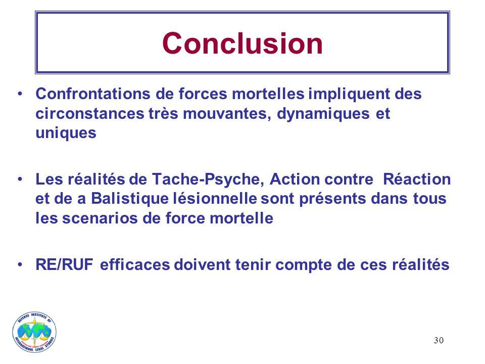 30 Conclusion Confrontations de forces mortelles impliquent des circonstances très mouvantes, dynamiques et uniques Les réalités de Tache-Psyche, Acti