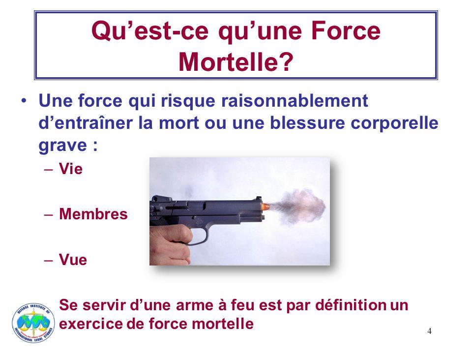 4 Quest-ce quune Force Mortelle? Une force qui risque raisonnablement dentraîner la mort ou une blessure corporelle grave : –Vie –Membres –Vue Se serv