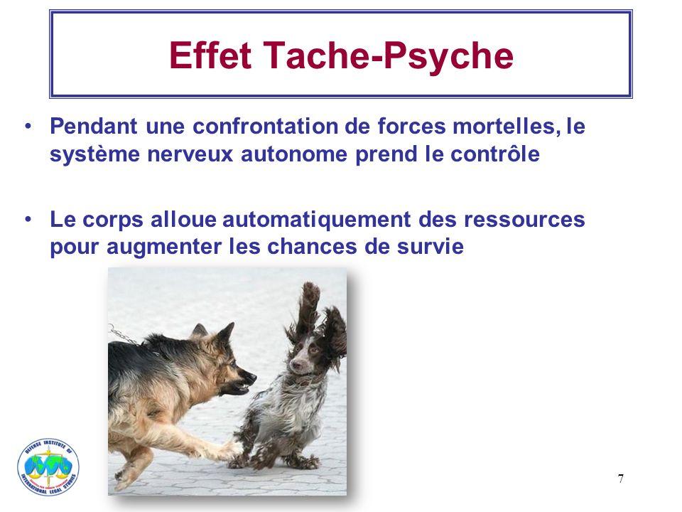 7 Effet Tache-Psyche Pendant une confrontation de forces mortelles, le système nerveux autonome prend le contrôle Le corps alloue automatiquement des
