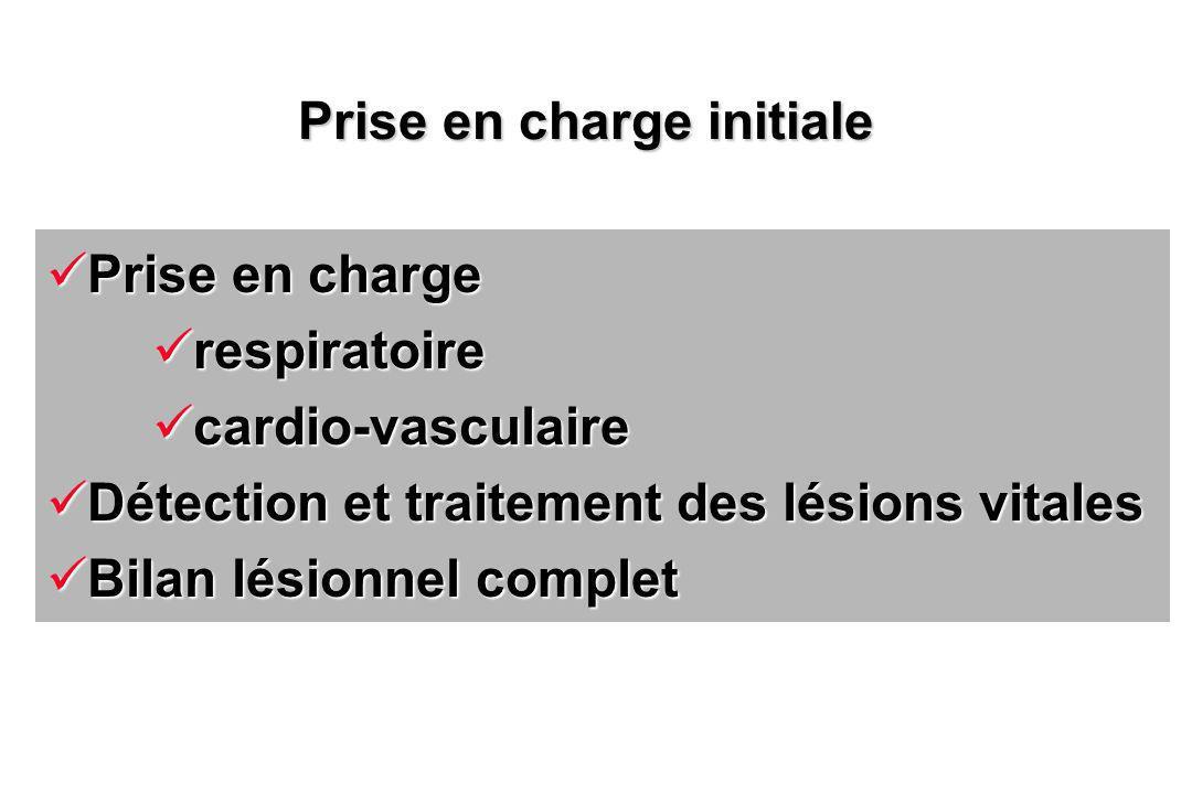 Prise en charge Prise en charge respiratoire respiratoire cardio-vasculaire cardio-vasculaire Détection et traitement des lésions vitales Détection et