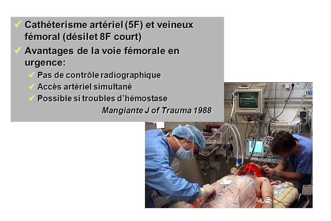 Cathéterisme artériel (5F) et veineux fémoral (désilet 8F court) Cathéterisme artériel (5F) et veineux fémoral (désilet 8F court) Avantages de la voie