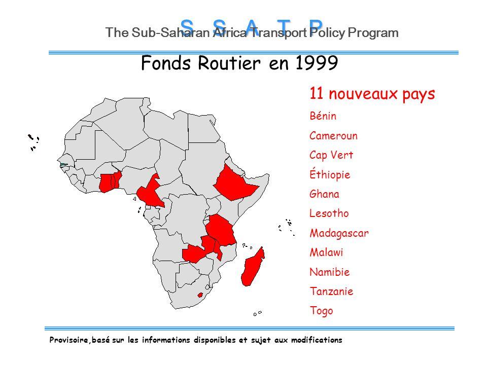 S S A T P The Sub-Saharan Africa Transport Policy Program Fonds Routier en 2003 Encore 10 pays Burundi Cote dIvoire Kenya Mali Mozambique Niger Rwanda Sierra Leone Tchad Zimbabwe Provisoire,basé sur les informations disponibles et sujet aux modifications