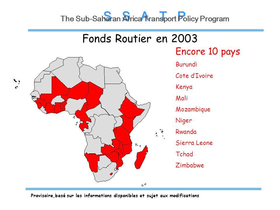 S S A T P The Sub-Saharan Africa Transport Policy Program Insuffisant Suffisant Provisoire,basé sur les informations disponibles et sujet aux modifications Ressources disponibles pour les besoins de lentretien courant du réseau public