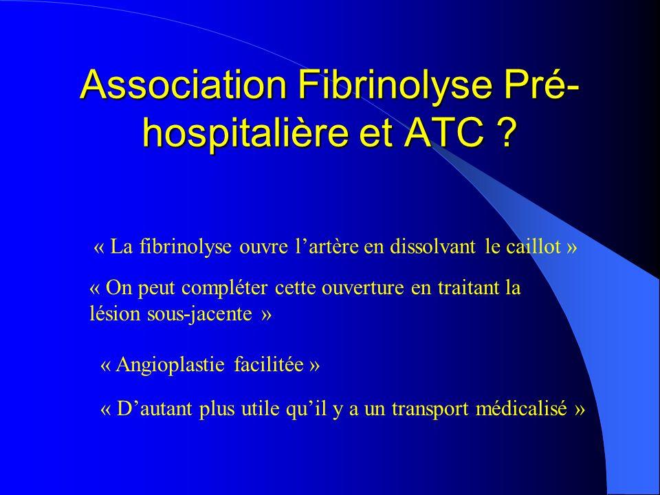 Association Fibrinolyse Pré- hospitalière et ATC ? « La fibrinolyse ouvre lartère en dissolvant le caillot » « On peut compléter cette ouverture en tr