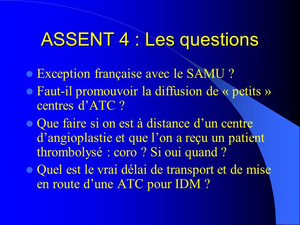 ASSENT 4 : Les questions Exception française avec le SAMU ? Faut-il promouvoir la diffusion de « petits » centres dATC ? Que faire si on est à distanc