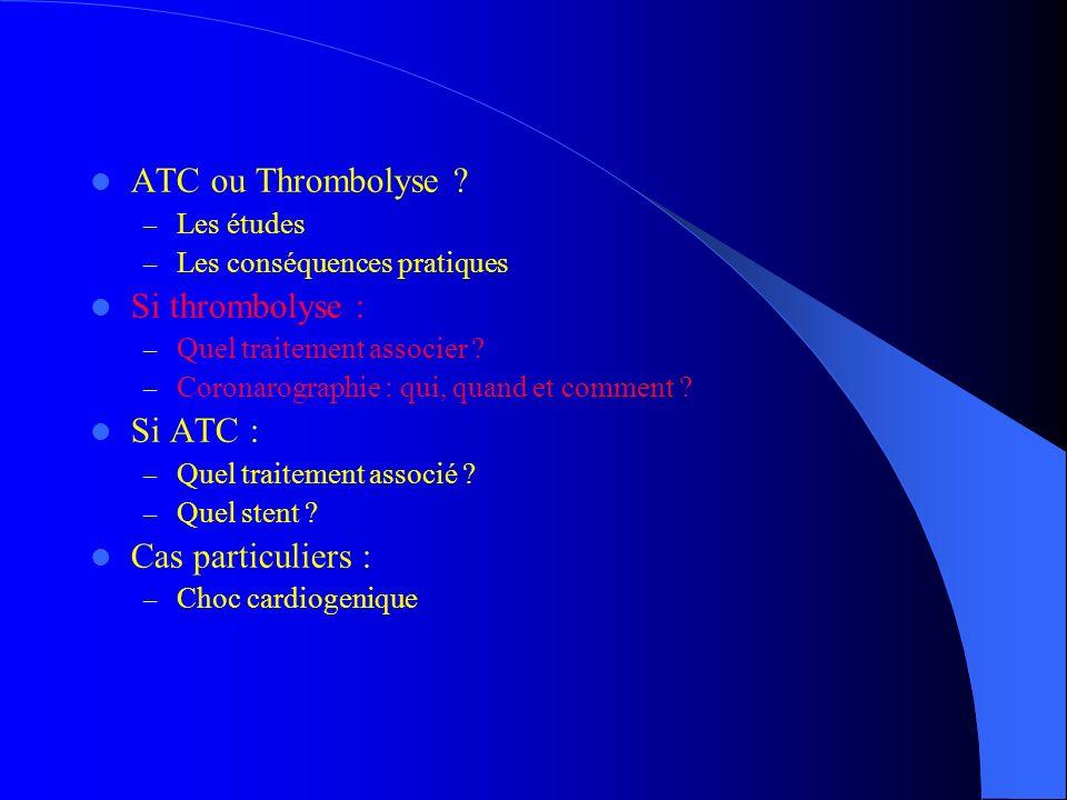 ATC ou Thrombolyse ? – Les études – Les conséquences pratiques Si thrombolyse : – Quel traitement associer ? – Coronarographie : qui, quand et comment
