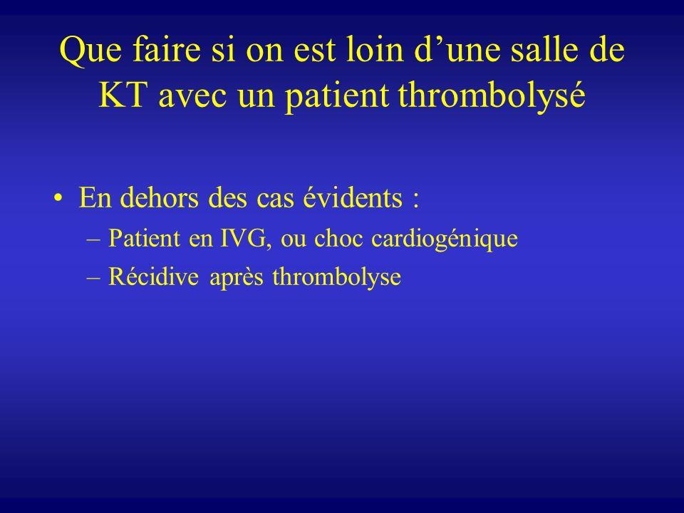 Que faire si on est loin dune salle de KT avec un patient thrombolysé En dehors des cas évidents : –Patient en IVG, ou choc cardiogénique –Récidive ap