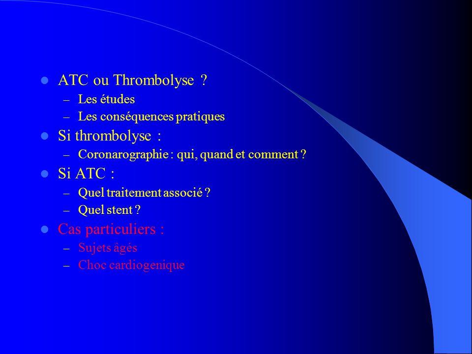 ATC ou Thrombolyse ? – Les études – Les conséquences pratiques Si thrombolyse : – Coronarographie : qui, quand et comment ? Si ATC : – Quel traitement