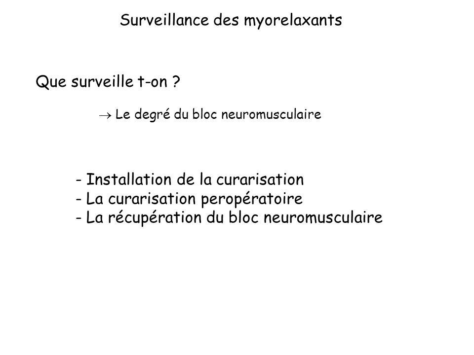 Le monitorage neuromusculaire : au bloc opératoire Extubation Curarisation résiduelle Eviter la curarisation résiduelle « Les tests cliniques ne suffisent pas à garantir l absence de curarisation résiduelle ; le monitorage instrumental constitue l élément principal du suivi de la décurarisation » Td4=TOF : 4 réponses et un T4/T1>90% TOF >1 T4/T1>90%