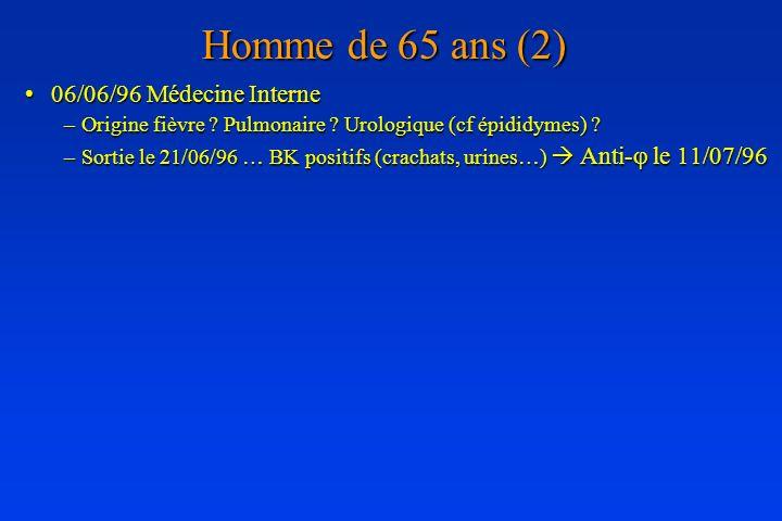 Homme de 65 ans (2) 06/06/96 Médecine Interne06/06/96 Médecine Interne –Origine fièvre ? Pulmonaire ? Urologique (cf épididymes) ? –Sortie le 21/06/96