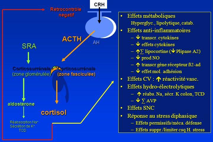 ACTH Corticosurrénale (zone fasciculée) cortisol CRH CRHAH Rétrocontrôle négatif négatif Corticosurrénale (zone glomérulée) aldostérone SRA Réabsorpti