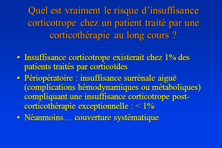 Quel est vraiment le risque dinsuffisance corticotrope chez un patient traité par une corticothérapie au long cours ? Insuffisance corticotrope existe