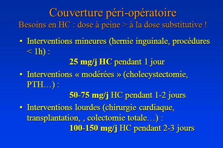 Couverture péri-opératoire Besoins en HC : dose à peine > à la dose substitutive ! Interventions mineures (hernie inguinale, procédures < 1h) : 25 mg/