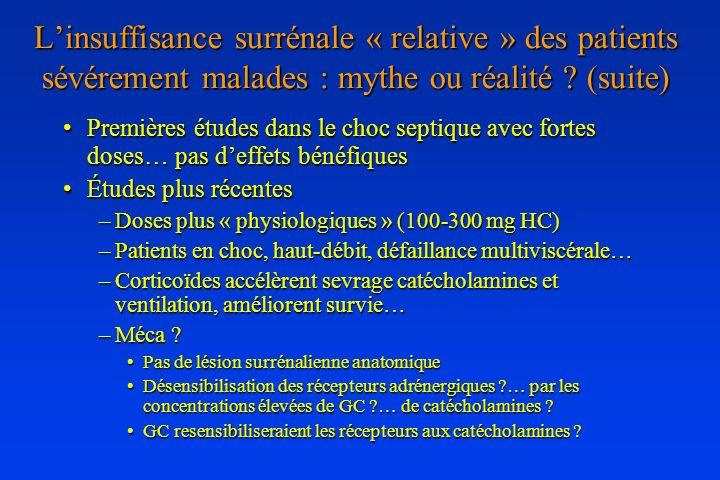 Premières études dans le choc septique avec fortes doses… pas deffets bénéfiquesPremières études dans le choc septique avec fortes doses… pas deffets