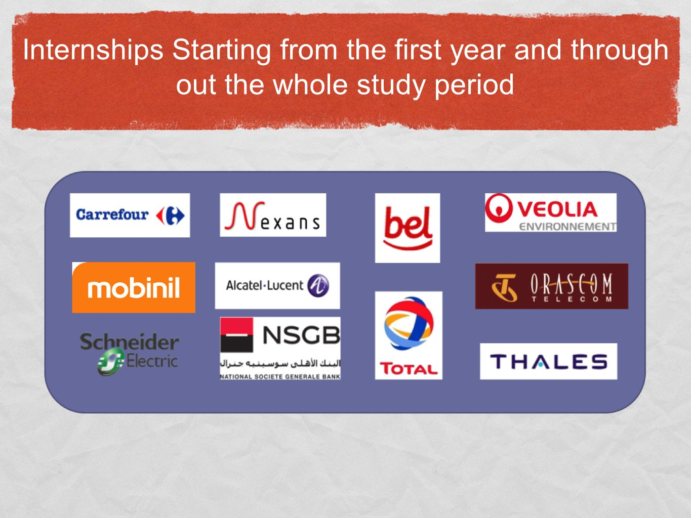 Internships Starting from the first year and through out the whole study period
