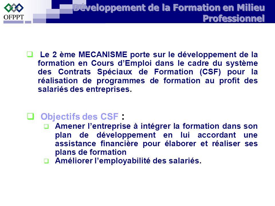 Le 2 ème MECANISME porte sur le développement de la formation en Cours dEmploi dans le cadre du système des Contrats Spéciaux de Formation (CSF) pour