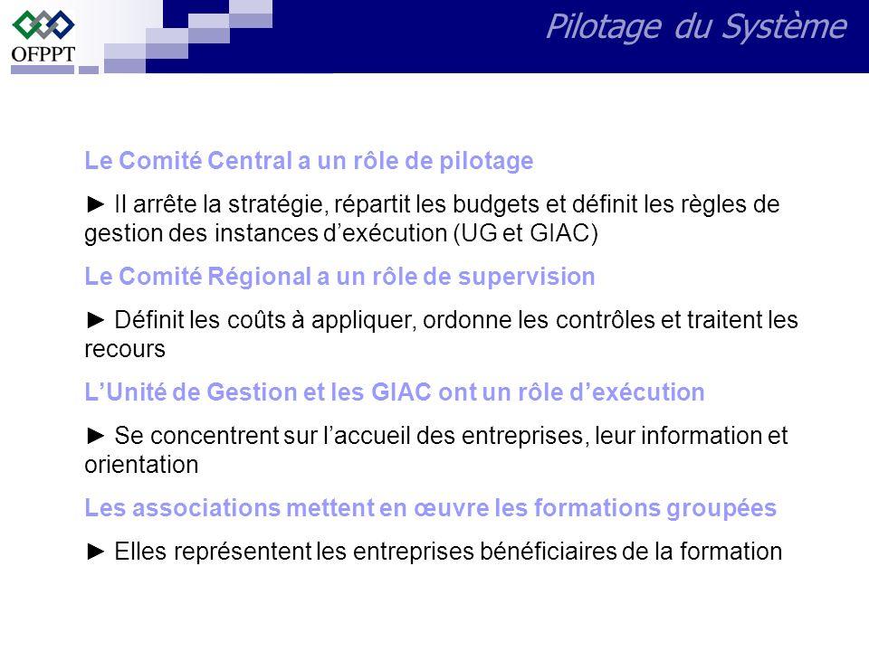Pilotage du Système Le Comité Central a un rôle de pilotage Il arrête la stratégie, répartit les budgets et définit les règles de gestion des instance