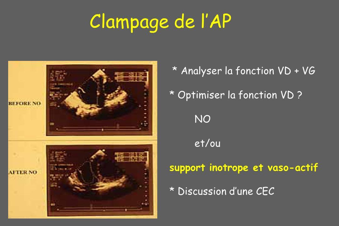 * Analyser la fonction VD + VG * Optimiser la fonction VD ? NO et/ou support inotrope et vaso-actif * Discussion dune CEC Clampage de lAP