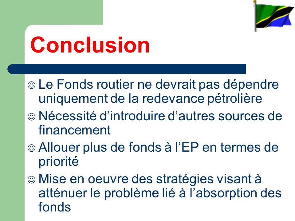 Conclusion Le Fonds routier ne devrait pas dépendre uniquement de la redevance pétrolière Nécessité dintroduire dautres sources de financement Allouer plus de fonds à lEP en termes de priorité Mise en oeuvre des stratégies visant à atténuer le problème lié à labsorption des fonds