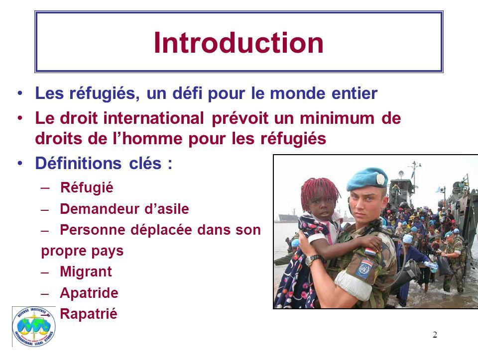 2 Introduction Les réfugiés, un défi pour le monde entier Le droit international prévoit un minimum de droits de lhomme pour les réfugiés Définitions