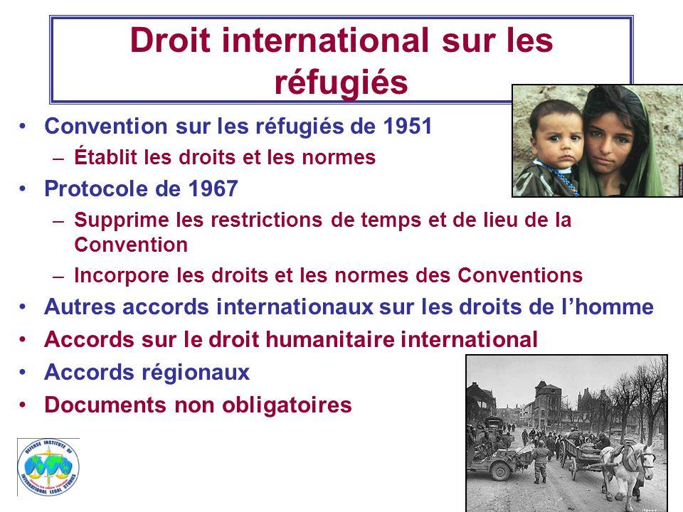 3 Droit international sur les réfugiés Convention sur les réfugiés de 1951 –Établit les droits et les normes Protocole de 1967 –Supprime les restricti