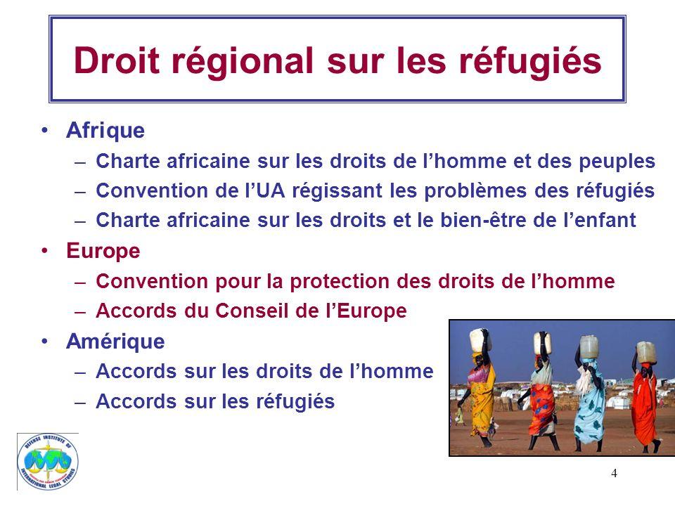 4 Droit régional sur les réfugiés Afrique –Charte africaine sur les droits de lhomme et des peuples –Convention de lUA régissant les problèmes des réf