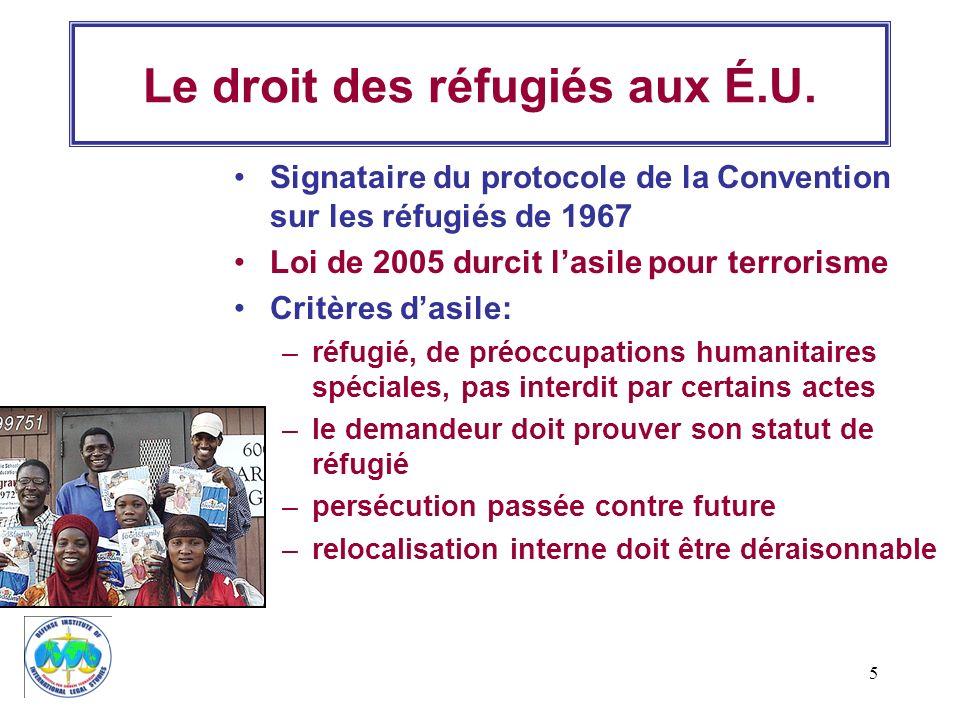 5 Le droit des réfugiés aux É.U. Signataire du protocole de la Convention sur les réfugiés de 1967 Loi de 2005 durcit lasile pour terrorisme Critères