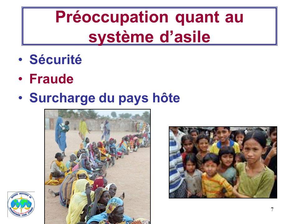 7 Préoccupation quant au système dasile Sécurité Fraude Surcharge du pays hôte