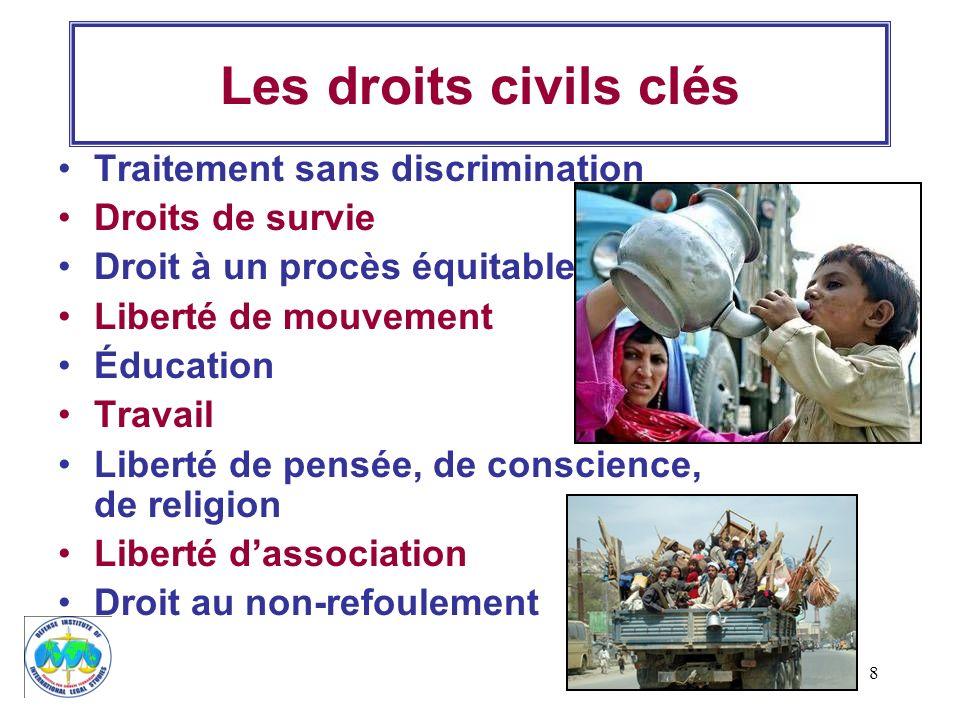 8 Les droits civils clés Traitement sans discrimination Droits de survie Droit à un procès équitable Liberté de mouvement Éducation Travail Liberté de