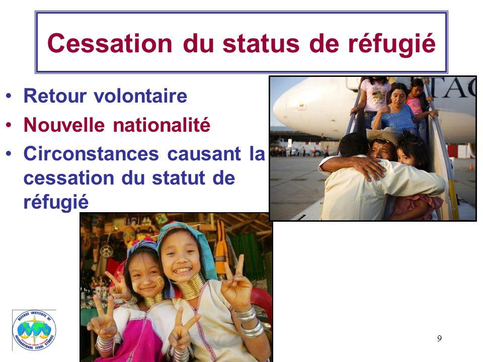 9 Cessation du status de réfugié Retour volontaire Nouvelle nationalité Circonstances causant la cessation du statut de réfugié