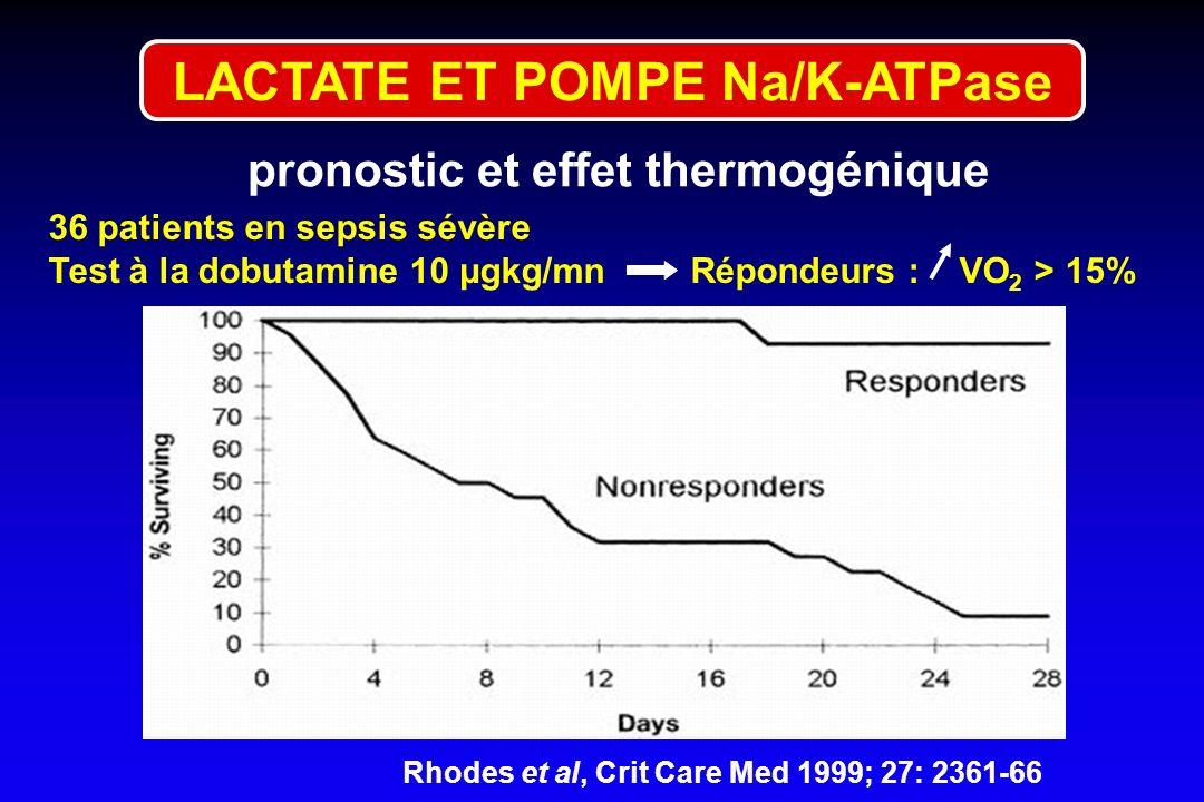 Rhodes et al, Crit Care Med 1999; 27: 2361-66 36 patients en sepsis sévère Test à la dobutamine 10 µgkg/mnRépondeurs : VO 2 > 15% LACTATE ET POMPE Na/