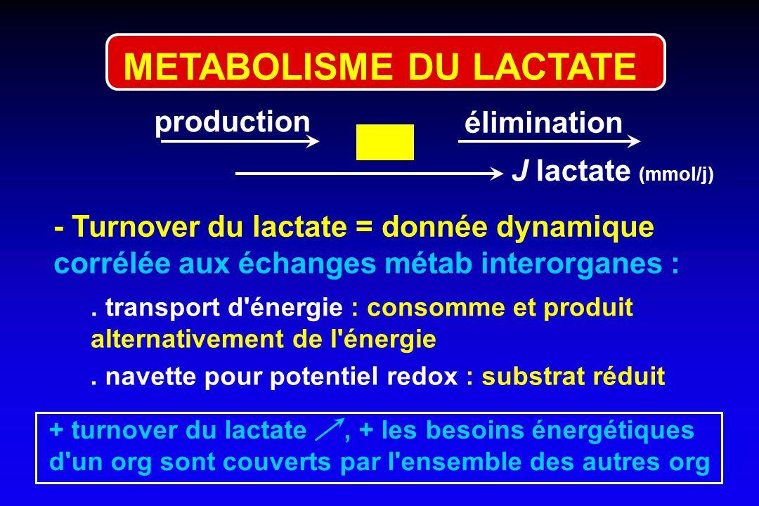 production élimination - Turnover du lactate = donnée dynamique corrélée aux échanges métab interorganes :. transport d'énergie : consomme et produit