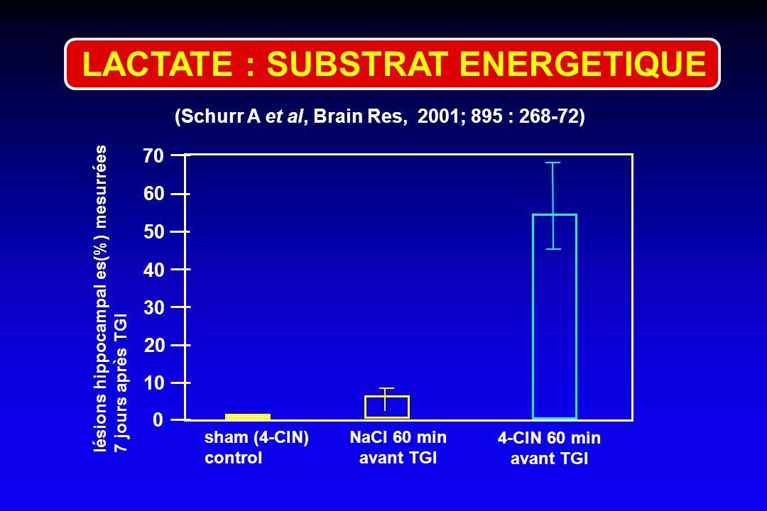 (Schurr A et al, Brain Res, 2001; 895 : 268-72) 0 50 40 20 10 sham (4-CIN) control NaCl 60 min avant TGI 70 lésions hippocampal es(%) mesurrées 7 jour