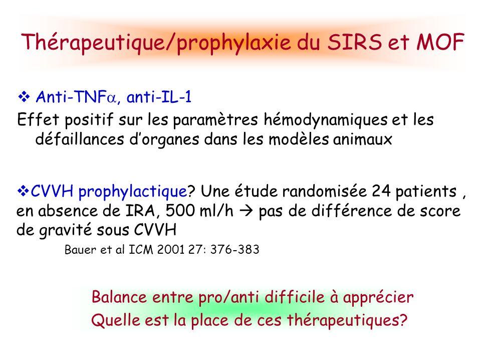 Thérapeutique/prophylaxie du SIRS et MOF Anti-TNF, anti-IL-1 Effet positif sur les paramètres hémodynamiques et les défaillances dorganes dans les mod