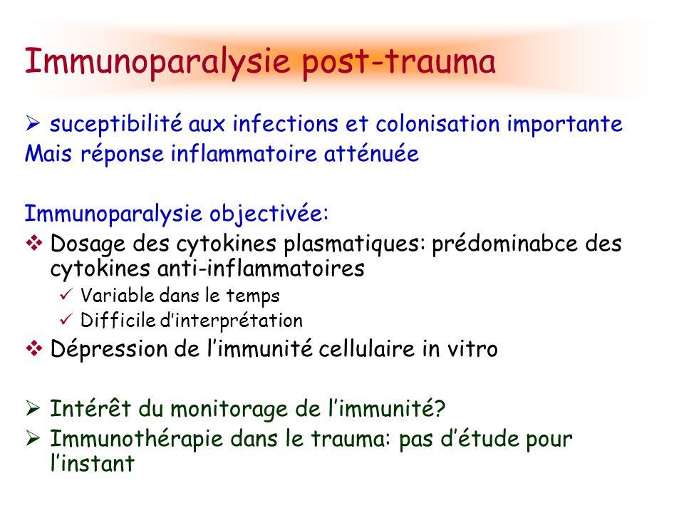 Immunoparalysie post-trauma suceptibilité aux infections et colonisation importante Mais réponse inflammatoire atténuée Immunoparalysie objectivée: Do