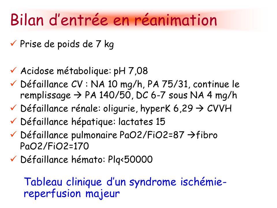 Bilan dentrée en réanimation Prise de poids de 7 kg Acidose métabolique: pH 7,08 Défaillance CV : NA 10 mg/h, PA 75/31, continue le remplissage PA 140