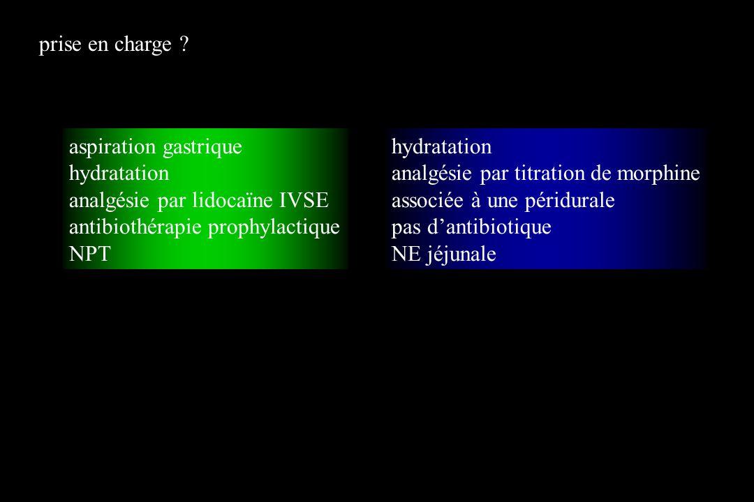 aspiration gastrique hydratation analgésie par lidocaïne IVSE antibiothérapie prophylactique NPT hydratation analgésie par titration de morphine assoc