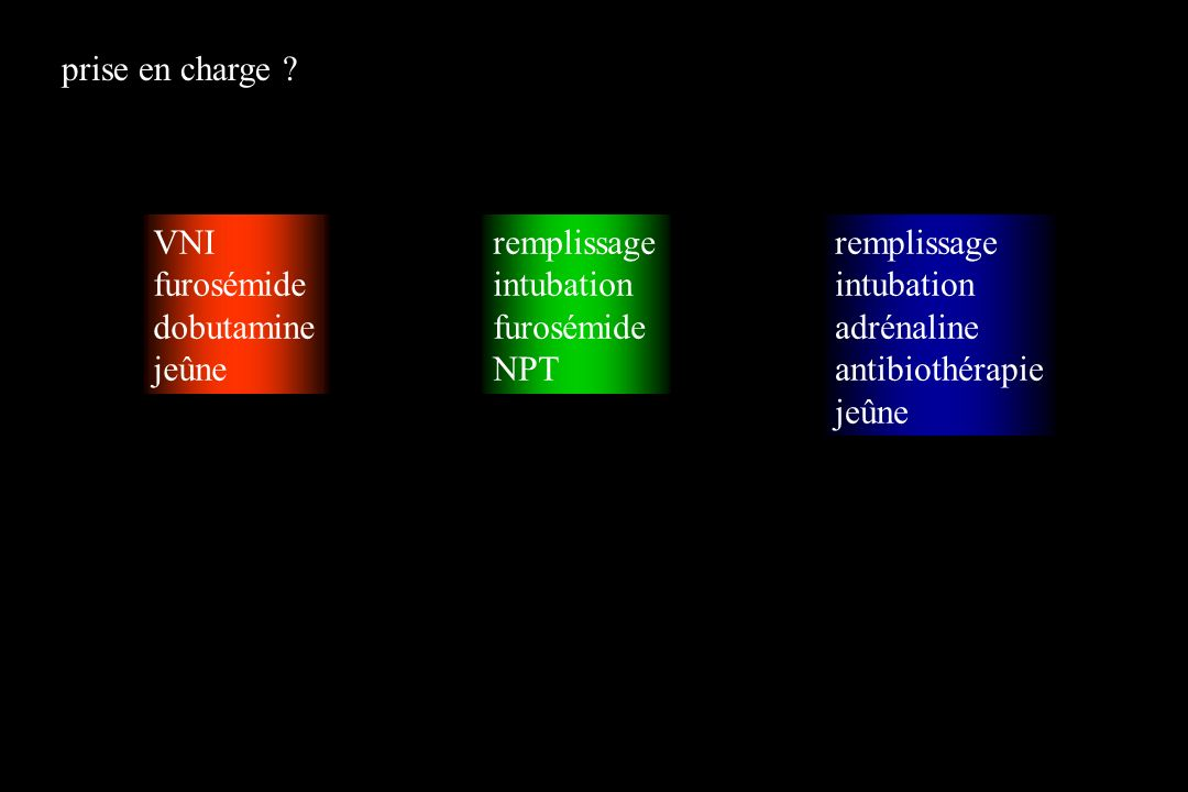 VNI furosémide dobutamine jeûne remplissage intubation furosémide NPT remplissage intubation adrénaline antibiothérapie jeûne prise en charge ?