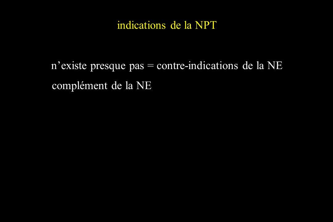 indications de la NPT nexiste presque pas = contre-indications de la NE complément de la NE