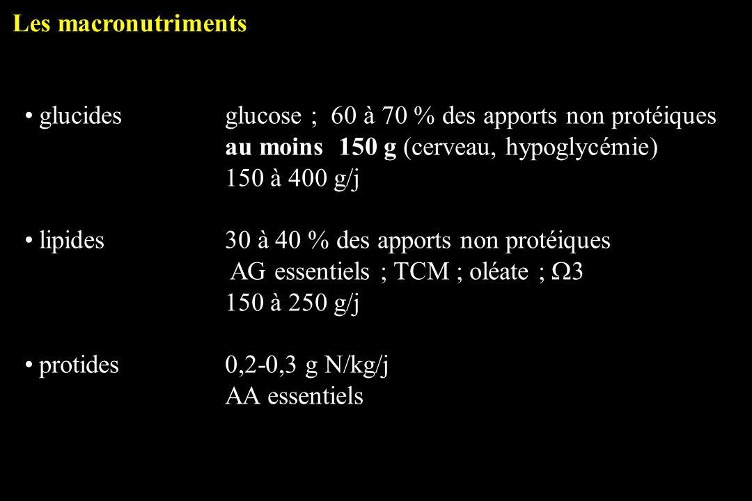 glucidesglucose ; 60 à 70 % des apports non protéiques au moins 150 g (cerveau, hypoglycémie) 150 à 400 g/j lipides30 à 40 % des apports non protéique