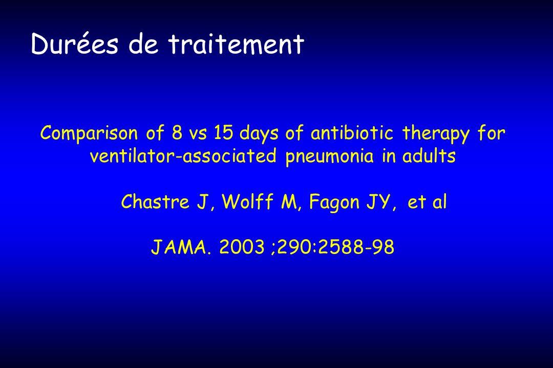 Durées de traitement Comparison of 8 vs 15 days of antibiotic therapy for ventilator-associated pneumonia in adults Chastre J, Wolff M, Fagon JY, et a