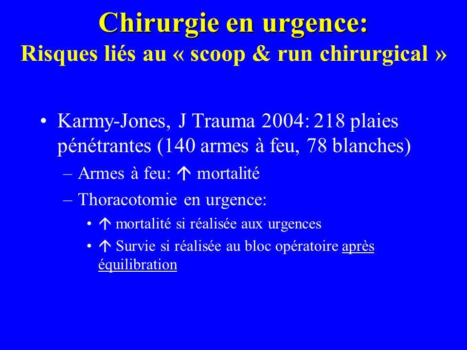 Chirurgie en urgence: Chirurgie en urgence: Risques liés au « scoop & run chirurgical » Karmy-Jones, J Trauma 2004: 218 plaies pénétrantes (140 armes