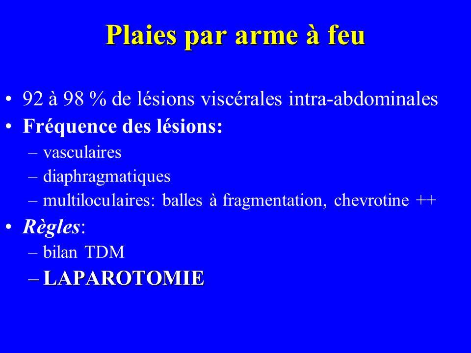 Plaies par arme à feu 92 à 98 % de lésions viscérales intra-abdominales Fréquence des lésions: –vasculaires –diaphragmatiques –multiloculaires: balles