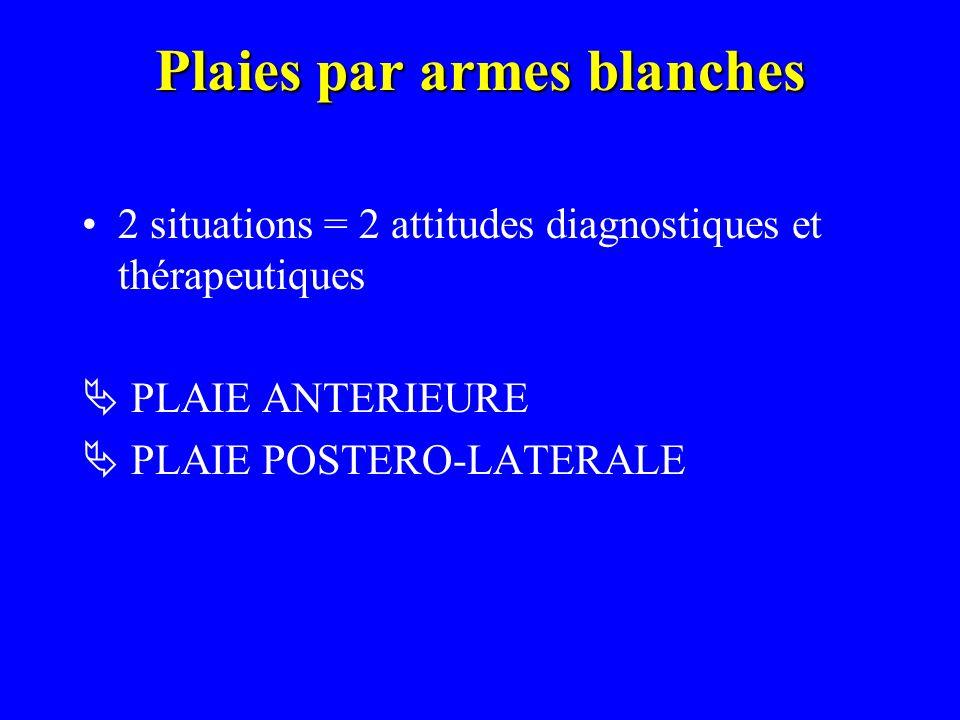 Plaies par armes blanches 2 situations = 2 attitudes diagnostiques et thérapeutiques PLAIE ANTERIEURE PLAIE POSTERO-LATERALE