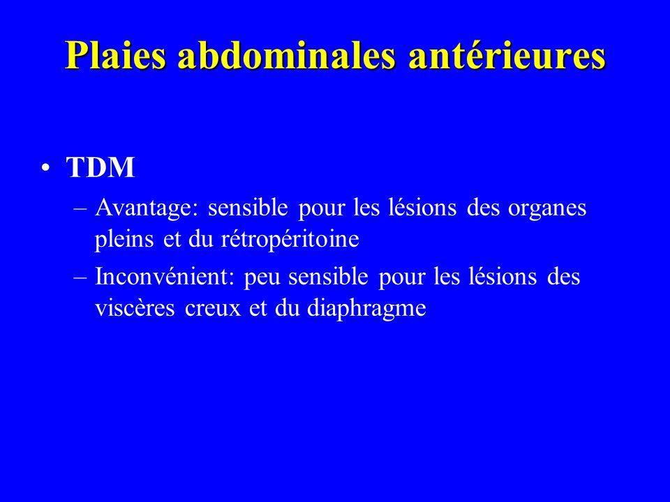 Plaies abdominales antérieures TDM –Avantage: sensible pour les lésions des organes pleins et du rétropéritoine –Inconvénient: peu sensible pour les l